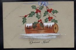 CPA FANTAISIE CELLULOID CELLULOIDE- 1917 - HEUREUX NOEL- Peinte à La Main - Buche De Bois Bouquet Houx Neige Ruban -#431 - Unclassified