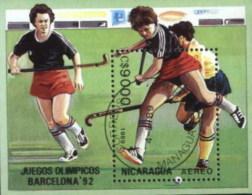 Nicaragua 1992 Olympic Games, Women Hockey Used Cancelled Block M/S (U-63) - Zomer 1992: Barcelona