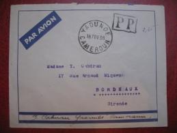 Lettre  En Port Payé De Yaounde Cameroun 1938 Avec Complément Affranchissement Au Dos Pour Bordeaux