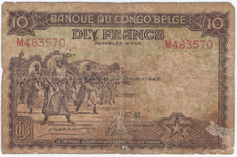 BANQUE DU CONGO BELGE - DIX FRANCS - Deuxième Emission - 1942 - [ 5] Belgisch Kongo