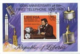 Liberia Telecom, Space, Telephone Centenary, UPU, Dr. Graham Bell Used Cancelled Block M/S (U-66)