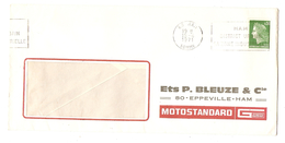 LETTRE HAM SOMME 15/6/1971 Éts O. BLEUZE & Cie MOTOSTANDARD EPPEVILLE HAM - Y & T MARIANNE CHEFFER 1536A - 1961-....