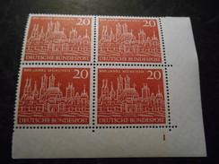 Bund 1958 Postfrischer 4er Block Mit Bogennummer /Ecke - Unused Stamps