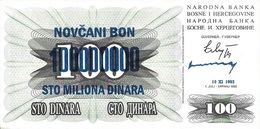 BOSNIA & HERZEGOVINA 100 MILLION DINARA 1993 P-37b AU/UNC [BA037b] - Bosnia Erzegovina