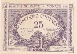 MONACO 25 CENTIMES 1920 SANS LETTRE NI N° DE SERIE - Monaco