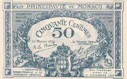 MONACO 50 CENTIMES 1920 SERIE E SANS N° - Mónaco