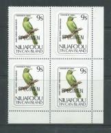 Tonga Niuafo´ou 1983 Bird Definitive 9s Self Adhesive Block Of 4 Specimen Overprint MNH - Tonga (1970-...)