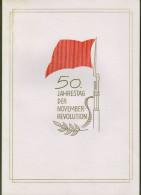 """DDR: Gedenkblatt Mit Mi-Nr. 1417-19 SST: """"50. Jahrestag Der Novemberrevolution"""" !   X"""