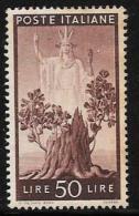 "Italy, Scott # 476 Mint Hinged ""Italia"" , Sprouting Oak Stump, 1945 - 4. 1944-45 Social Republic"
