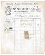 FACTURE MACHINES A COUDRE CYCLES ET AUTOS 1910 Mon PAUL LETORT 61 L'AIGLE - Automobile