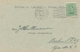 BRUXELLES / Belgie - 1920 , Bücherzettel Nach Berlin - Carte-Lettere