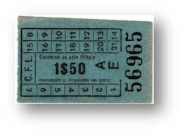 C. F. L. - Carris De Ferro De Lisboa - 1$50 - Tramway Ticket - Serie AE - RADAR 56965 CAPICUA - Portugal - Tranvías