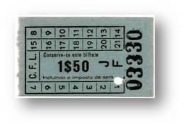 C. F. L. - Carris De Ferro De Lisboa - 1$50 - Tramway Ticket - Serie JF - RADAR 03330 CAPICUA - Portugal - Tranvías