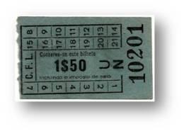 C. F. L. - Carris De Ferro De Lisboa - 1$50 - Tramway Ticket - Serie UN - RADAR 10201 CAPICUA - Portugal - Tranvías