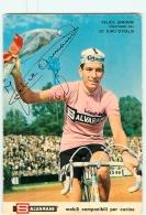 Felice GIMONDI , Autographe Manuscrit - Equipe Salvarini - Format : 105 X 150 - Lire Descriptif -  Cyclisme - 2 Scans - Cycling