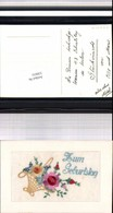 530031,Material Seiden AK Seidenkarte Zum Geburtstag - Ansichtskarten