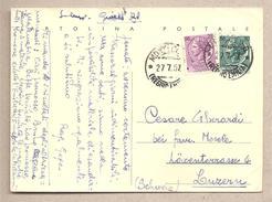 """Italia - Cartolina Postale  """"siracusana Testo Lungo"""" Usata Per L'estero - 1954 - 6. 1946-.. Repubblica"""