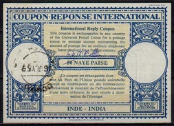 INDE / INDIA London Type XVIn 63 N.P. / 50 NAYE PAISE Int. Reply Coupon Reponse Antwortschein IRC IAS  O BOMBAY 16.7.59 - Briefe
