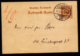 A4330) DR Rohrpost Berlin Karte Mi.RP8 Von Berlin NW 66 31.5.1893 - Deutschland