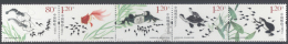 CHINA , 2013,MNH,FROGS, TADPOLES,  TURTLES,SHRIMPS, CRABS,FISH, POND LIFE,5v - Frogs