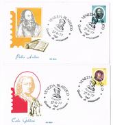 175- Italia 2 FDC 27.6.77 Artisti  £.70 Pietro Aretino + £.70 Carlo Goldoni Annullo Venezia Filatelico - 6. 1946-.. Repubblica