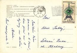 L1875 - Czechoslovakia (1965) Karlovy Vary 2 (postcard: Spa Karlovy Vary); Tariff: 30h (stamp:Olympic Games 1900 Paris)