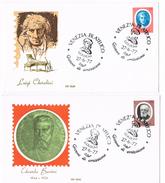 176- Italia 2 FDC 27.6.77 Artisti  £.70 Luigi Cherubini + £.70 Edoardo Bassini Annullo Venezia Filatelico Goldoni - 6. 1946-.. Repubblica