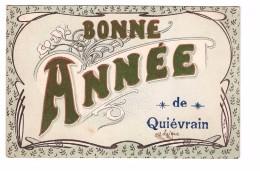 Belgique Bonne Année De Quievrain Carte Fantaisie Avec Feutrine Cachet 1906 - Quiévrain