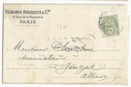 1902 - PERFORE TYPE BLANC - PERFIN - LETTRE De VILMORIN-ANDRIEUX à PARIS Pour JENZAT - Perfin