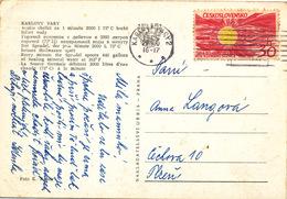 L1888 - Czechoslovakia (1965) Karlovy Vary 2 (postcard: Spa Karlovy Vary) Tariff: 30h (stamp: 1964/65 Year Of Quiet Sun)