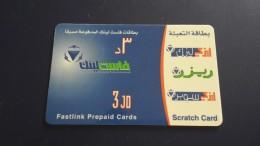 Jordan-fastlink Prepiad Card-(3jd)-used Card+1card Prepiad Free - Jordanien