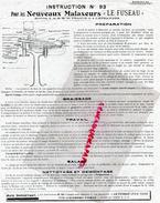 """LAITERIE- BEURRE- INSTRUCTION N° 93- NOUVEAUX MALAXEURS """" LE FUSEAU """" MALAXEUR - Documents Historiques"""