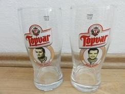 SLOVAKIA, 2  SPECIAL Commemorative Glasses (0,5l ). ICE HOCKEY LEGEND - RUSNAK, DZURILLA. - Hockey - Minors