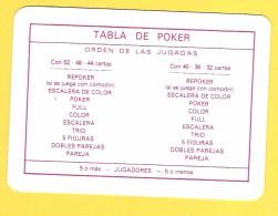 Tabla De Poker (règles Poker En Espagnol) - Verso Contract Bridge - Cartes à Jouer Classiques