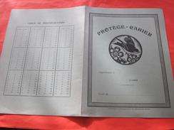 Moineau Oiseau Fleurs Protège-cahiers Illustré Vert Bleu Publicitaire Réclame Coop Des BDR Verso Table De Multiplication - Protège-cahiers