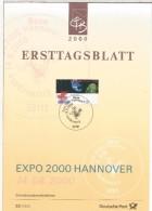 ALEMANIA DOCUEMENTO CON MAT PRIMER DIA 2000 EXPO HANNOVER EXPOSICION UNIVERSAL - 2000 – Hanovre (Allemagne)