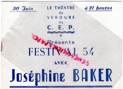 86 - POITIERS - PROGRAMME FESTIVAL 1954- AVEC JOSEPHINE BAKER- DOUMERGUE- THEATRE DE VERDURE-LAMBRETTA ETEVENARD-SCOOTER - Programs