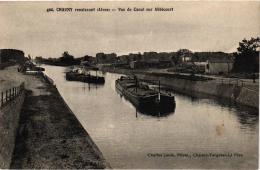 CHAUNY RENAISSANT ,VUE DU CANAL SUR ABBECOURT ,PENICHES ,JOLI PLAN REF 50083 - Houseboats