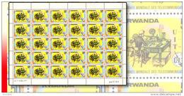 Rwanda 0813**  50c  Télécommunication -  Feuille / Sheet De 30 MNH ALPHABET MOSRE - Rwanda