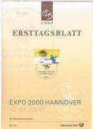 ALEMANIA DOCUMENTO CON MAT PRIMER DIA 2000 EXPO HANNOVER - 2000 – Hannover (Deutschland)