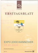 ALEMANIA DOCUMENTO CON MAT PRIMER DIA 2000 EXPO HANNOVER - 2000 – Hanover (Germany)