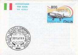"""Italie : Aerogram ( Biglietto Postale )   / 1° Volo Del Velivolo """"campini"""" - 1946-.. République"""