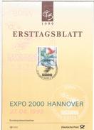 ALEMANIA DOCUMENTO CON MAT PRIMER DIA 1999 EXPO HANNOVER 2000 - 2000 – Hannover (Deutschland)