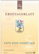 ALEMANIA DOCUMENTO CON MAT PRIMER DIA 1999 EXPO HANNOVER 2000 - 2000 – Hanovre (Allemagne)