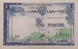 Indochine Indochina Vietnam Viet Nam Laos Cambodia 1 Piastre AU Banknote 1953-1954 - P#94 / 02 Images - Indochina
