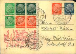 1939, Fahrt Nach Kassel, Karte Mit Div. Hindenburg Zusammendrucken.  Kleiner Eckschaden. - Zeppelins