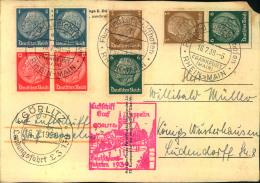 1939, Fahrt Nach Görlitz, Karte Mit Div. Hindenburg Zusammendrucken.  Kleiner Eckschaden.