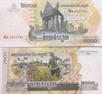 Cambodia Cambodge Kampuchea 2000 Riels UNC Banknotes 2007 - Pick#59 - Cambodia