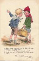 Carte Originale Peinte Aquarelle - Les Deux Enfants - Signé Raumy - Acquarelli