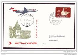 Austrian Airlines, FFC, Zurich - Graz, 01Apr.1974 - AUA-Erstflüge